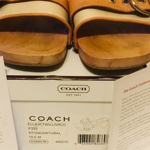 COACH Ella H. Twill/Vacc Stone/Natural Slides 10M